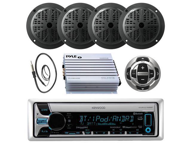 "Cover 400W Amp Antenna Kenwood CD Radio iPhone Input w//5.25/"" Black Speakers"