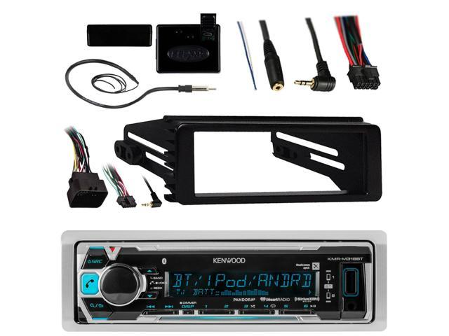 Amplified Signal Reception Booster Kit Kenwood Single-DIN in-Dash USB AUX CD Player Bluetooth Receiver Enrock Stereo Installation Kit for Select 1998-2013 Harley Davidson Motorcycles