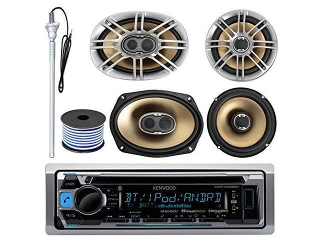"""4 Kenwood 6.5/"""" Speakers Pioneer Car Bluetooth USB CD Radio 50FT Speaker Wire"""