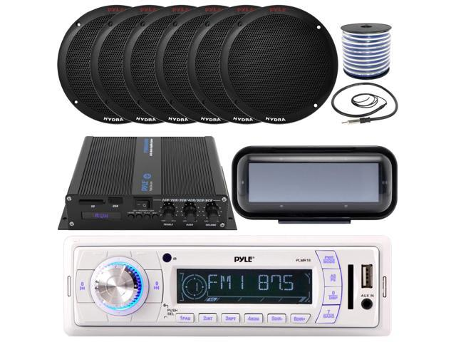 """Antenna 6.5/"""" Marine Speakers Pyle Bluetooth In-Dash Boat Stereo Radio Cover"""