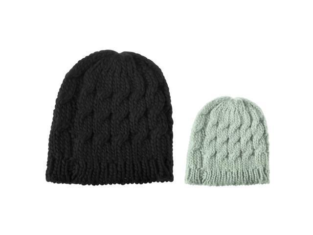 cb84c9b14e0 Zodaca 2-Piece Set Lady Women Knit Winter Warm Crochet Hat Braided Beanie  Cap (