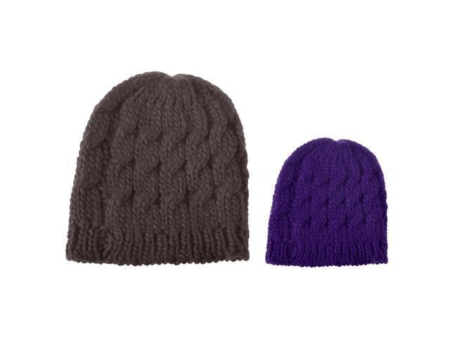 135dfa6cb75 Zodaca 2-Piece Set Lady Women Knit Winter Warm Crochet Hat Braided Beanie  Cap (
