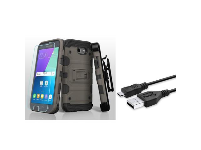 timeless design 46295 fbe16 insten Storm Tank Hard Case For Samsung Galaxy Amp Prime 2/Express Prime  2/J3 (2017)/J3 Emerge - Dark Gray(+ USB Cable) - Newegg.com