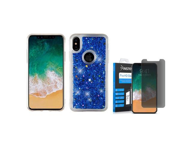 best website 5544a 2d5e2 Insten Quicksand Glitter Dual Layer Hybrid Case Cover for Apple iPhone X -  Blue (with Anti Spy Privacy Tempered Glass Screen Protector) - Newegg.com