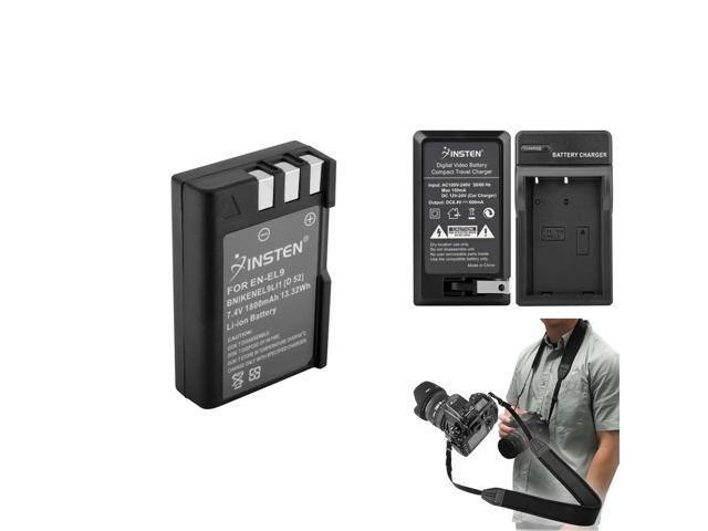 Black Insten Anti-Slip Weight Reducing Neoprene Camera Neck Strap 3.5 FT 1 M