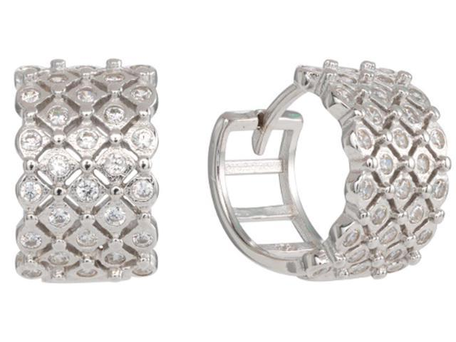 bc5a0faa2 925 Sterling Silver Huggie Hoops Earrings with 4 row Cubic Zirconia ( CZ)  Rhodium Plated EH005-12MM