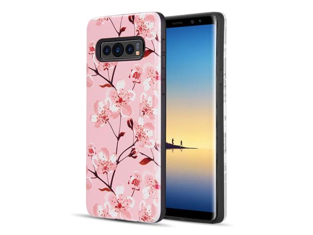 Samsung Galaxy S10 Plus Case, by Insten 3D Embossed Printing Spring Flowers  Dual Layer [Shock Absorbing] Hybrid Hard Plastic/Soft TPU Rubber Case