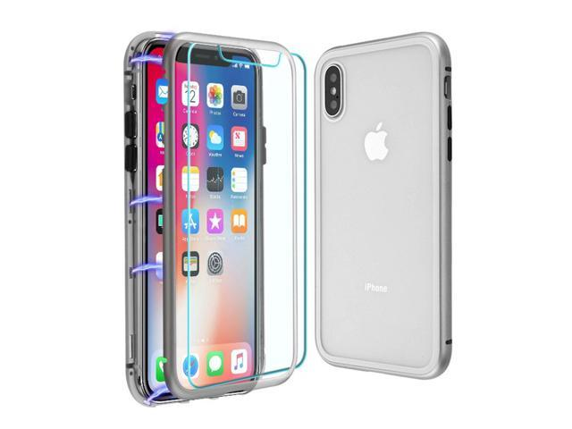online retailer 424cd f5384 iPhone X Case iPhone XS Case by Insten Magnetic Hybrid TPU Rubber Candy  Skin Case Cover For Apple iPhone X/XS, Clear/Silver - Newegg.com