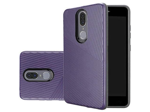 Coolpad 3310 (Illumina) Case, by Insten Textured Embossed Lines Dual Layer  [Shock Absorbing] Hybrid Hard Plastic/Soft TPU Rubber Case Cover For