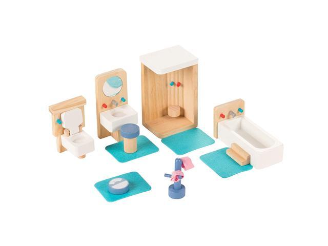 fd4d51de Juvale Bathroom Dollhouse Furniture Set - 14-Piece Kids Wooden Doll House  Accessories, Pretend Play Miniature Playhouse Toys, with Shower, Toilet, ...