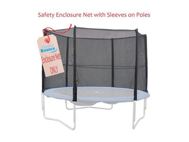 8/' Trampoline Enclosure Safety Net Fits for Round Frames Using 4 Poles//2 Arches