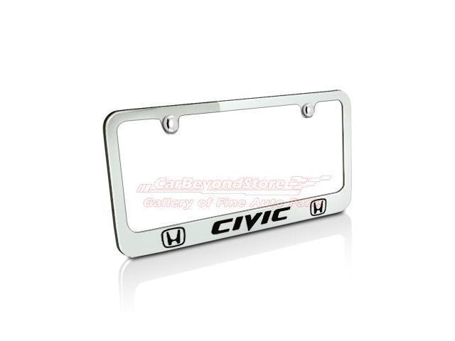 Honda Civic Dual Logos Chrome Metal License Plate Frame - Newegg.com
