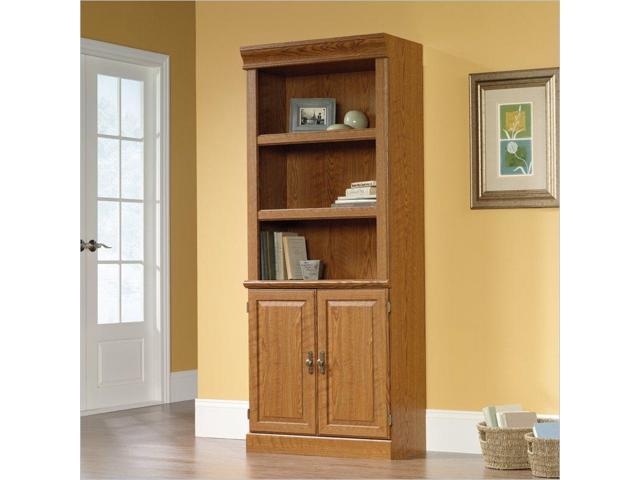 Jamocha Wood Sauder Trestle 3-Shelf Bookcase Brown
