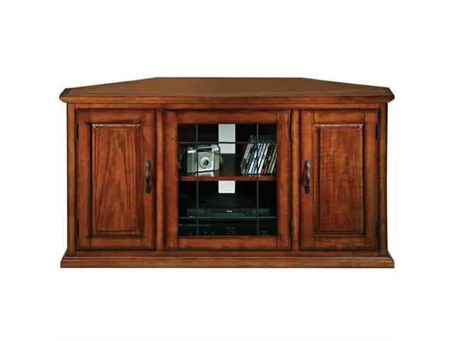 Leick Furniture Leaded Glass 50 Corner Tv Stand In Burnished Oak