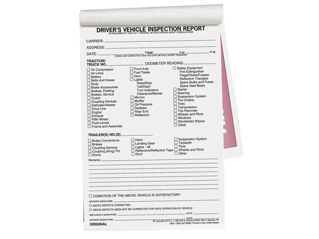 Jj Keller Vehicle Inspection Form, 2 Ply, Carbonless 5-1/2 x 8-1/2