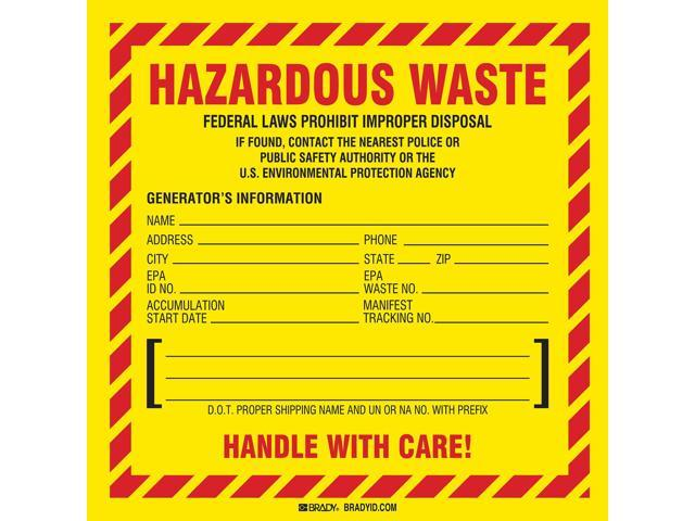 Brady Vinyl Hazardous Waste Label, 6