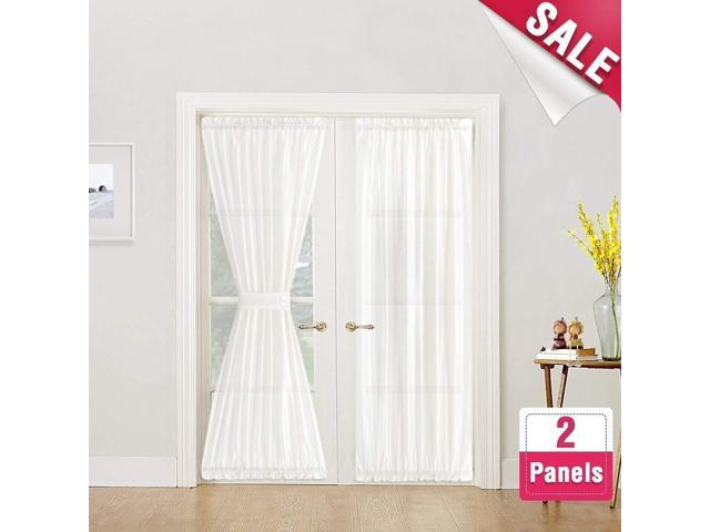 Faux Silk French Door Panels White Satin Curtains For Doors 72 Inch Length 2 With Bonus Tiebacks