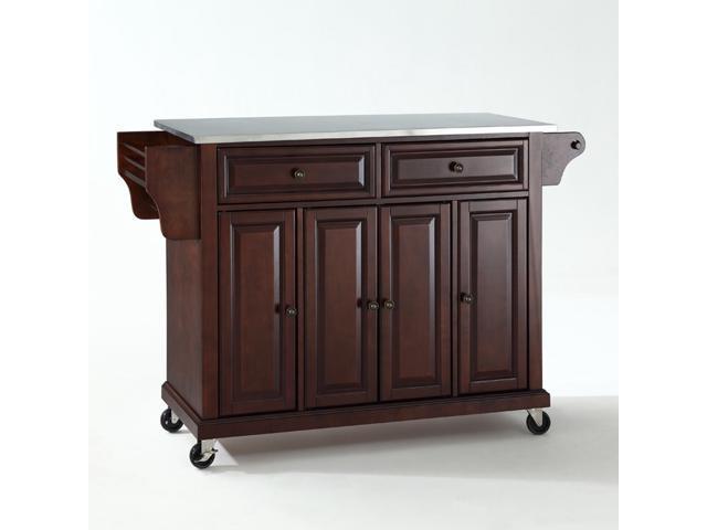 Crosley Stainless Steel Top Kitchen Cart/Island in Vintage Mahogany -  Newegg.com