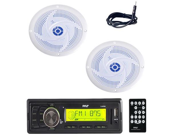 """4/"""" 100W Marine Speaker w//Built-in LEDs Antenna,Cover Pyle PLMR86B Receiver, 2"""