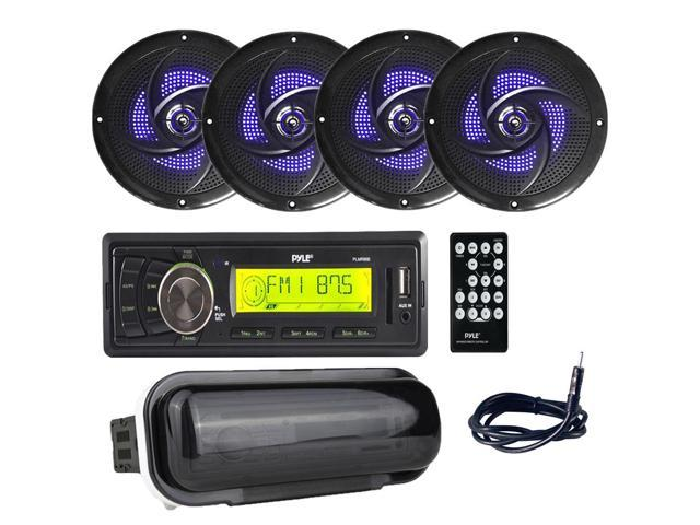 Pyle PLMR86B Marine Stereo Radio Headunit Receiver with (4) 4 Inch 100W  Low-Profile Slim Style Waterproof Rated Marine Speakers with Built-in LED