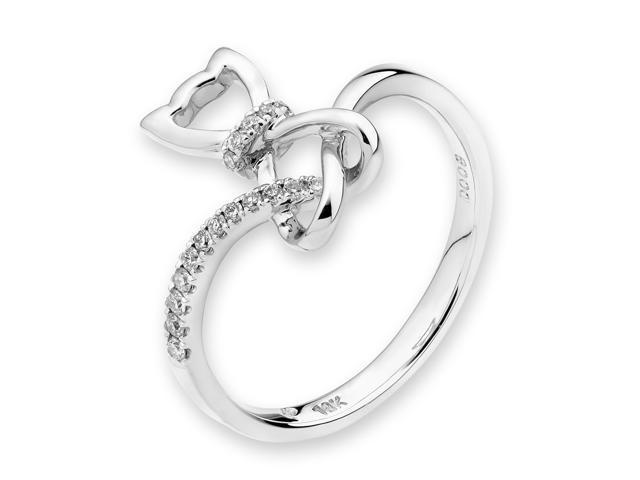 18k 750 White Gold Cutie Cat Diamond Ring 0 08 Cttw G H Color