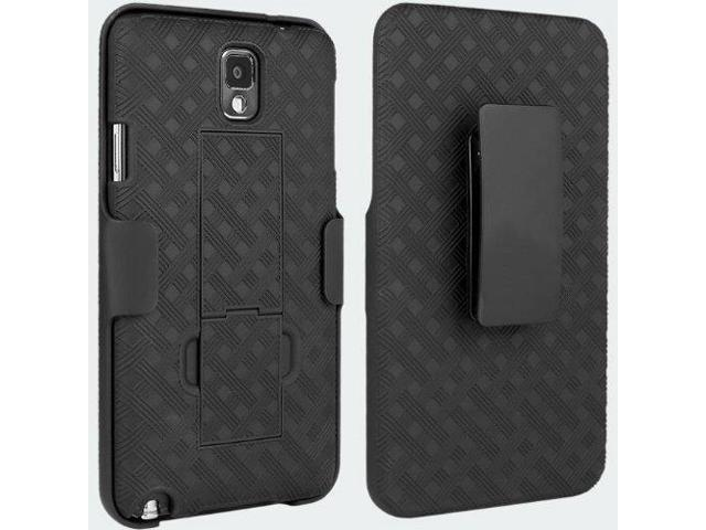 VERIZON BLACK CASE SHELL BELT CLIP HOLSTER STAND COMBO FOR SAMSUNG GALAXY  NOTE 3 III N900V (also fits AT&T N900WB, Sprint N900P, Tmobile N900T, US