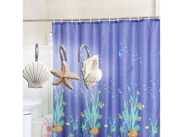 12 Shower Curtain Decorative Hooks Starfish /& Sea Shell Fast Shipping