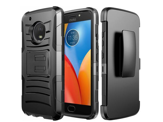 uk availability 628be dd129 Motorola Moto E4 Plus Holster Case, [Standard Black] Supreme Protection  Hard Plastic Case w/ Kickstand on Silicone Skin Dual Layer Hybrid Case w/  ...