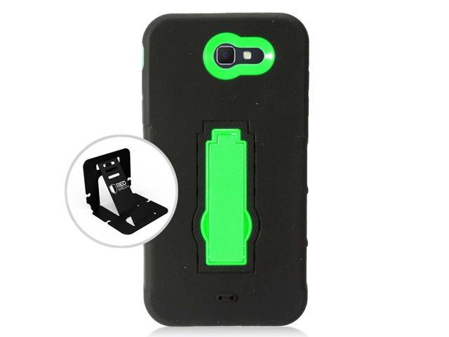 free shipping d9de2 ee141 Samsung Galaxy J7 [2017] Case Supreme Protection Silicone Skin Case on Hard  Case Dual Layer Hybrid Case w/ Kickstand [Black/ Neon Green] - Newegg.com