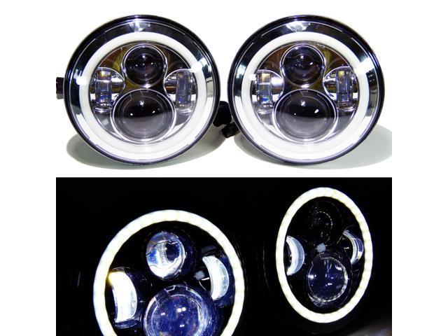genssi 7 inch led round headlights halo angel eyes drl w/harness fits jeep  jk
