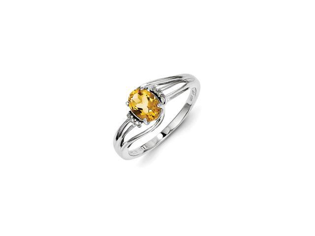 925 rhodium flashed silver citrine and diamond oval cut ring - 0 558cttw