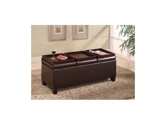 Brown Vinyl Storage Ottoman With Trays By Coaster