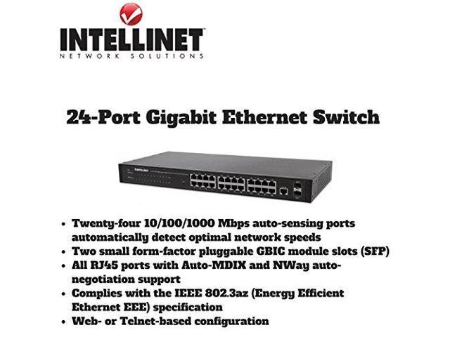 Intellinet 24-Port Web-Managed Gigabit Ethernet Switch with 2 SFP Ports -  24 Ports - Manageable - 2 x Expansion Slots - 1000Base-T, 1000Base-X - 24 x
