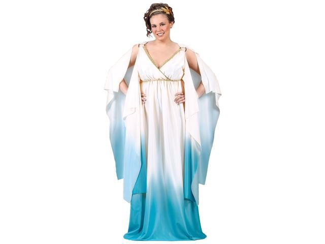 Sexy Plus Size Blue Greek Roman Grecian Goddess Halloween Toga Dress