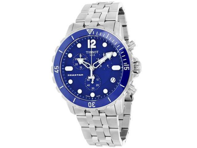 Tissot Seastar Chronograph Blue Dial Stainless Steel Mens Watch T0664171104700 Newegg Com