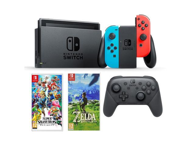 Nintendo Switch Neon Switch Pro Controller Super Smash Bros Legend Of Zelda Game Bundle