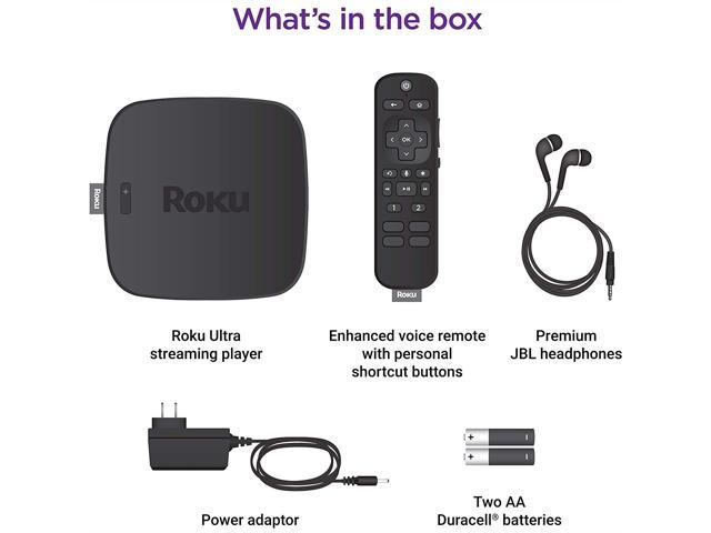 Roku Ultra Streaming Media Player 4K//HD//HDR Premium JBL Headphones Enhanced Voice Remote W//TV Controls and Personal Shortcuts W//HESVAP 3in1 Accessories