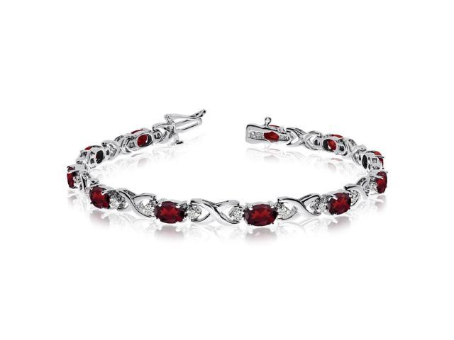 14k White Gold Natural Garnet And Diamond Tennis Bracelet 6 Inch Length