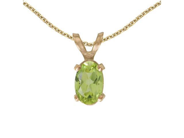 14k Yellow Gold Oval Peridot Pendant with 18 Chain