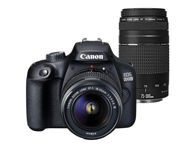 Canon EOS 2000D / Rebel T7 24.1MP Digital SLR Camera + Canon EF-S 18-55mm Lens + EF 75-300mm Lens