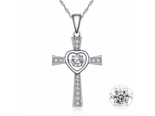 Sterling Silver Round CZ Heart Style Dancing Necklace Emerald Pendant For Women