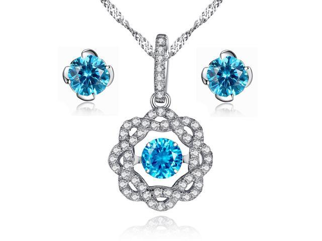 """Sterling Silver 0.5CT Created Blue Topaz Dancing Necklace Pendant with 18/"""" Chain"""