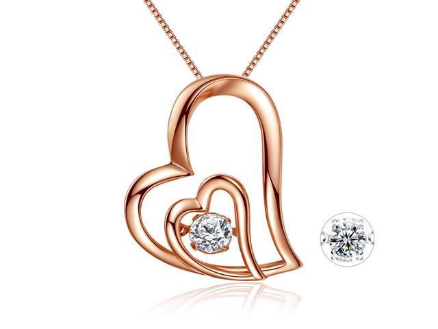 CZ Ocean Love Heart 18K White Gold Plated Blue Sapphire Pendant Necklace Chain