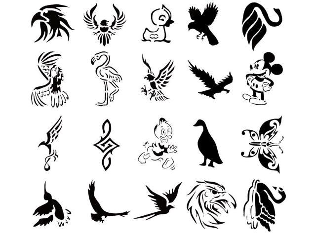 Self Adehsive Airbrush Tattoo Stencil Set Book of 20 Bird Designs ...