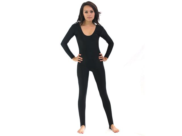 bb98b6ef0c Shiny Stretchy Spandex Black Scoop Neck Long Sleeve Unitard Dancewear  Bodysuit