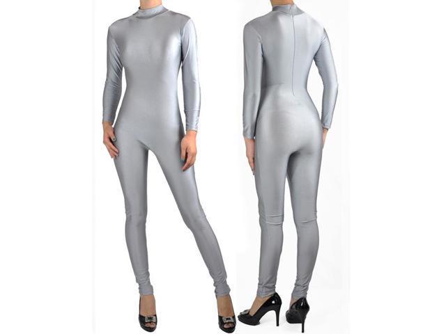 bb14fc786f Shiny Spandex Gray Mock Neck Long Sleeve Unitard Bodysuit Costume Dancewear