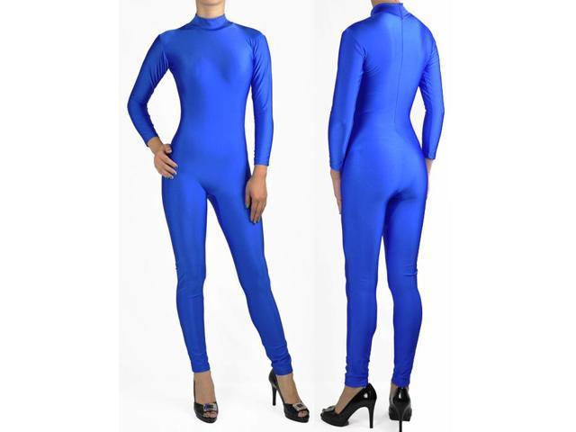 e11f1b47e6 Shiny Spandex Blue Mock Neck Long Sleeve Unitard Bodysuit Costume Dancewear