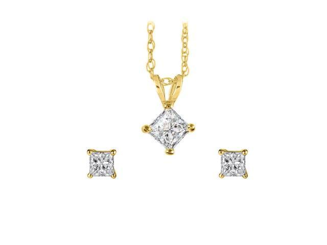 princess cut diamond pendant and push back earrings set