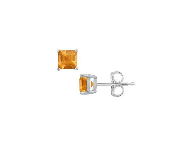 November Simulated Golden Yellow Citrine Square Stud Earrings Sterling Silver