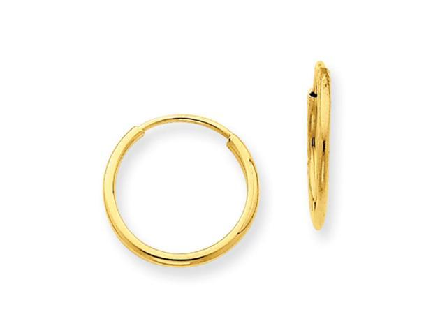 1 25mm 14k Yellow Gold Endless Hoop Earrings 15mm 9 16 Inch Newegg